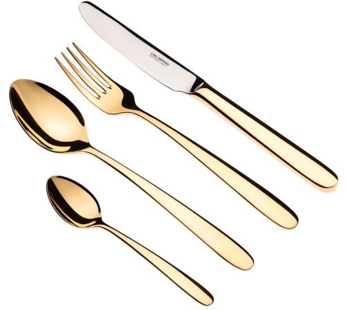 Milano Menübesteck 4-teilig, Stahlheftmesser, vergoldet
